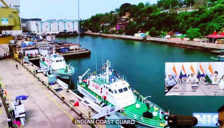 defense minister rajnath singh coast guard ships and boats launched in goa