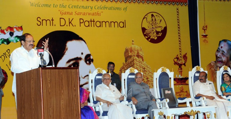 m. venkaiah naidu in dk pattamal's centenary celebrations