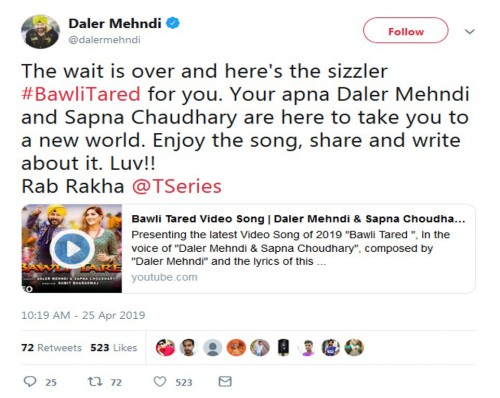 dellor mehndi and sapna chaudhary on social media