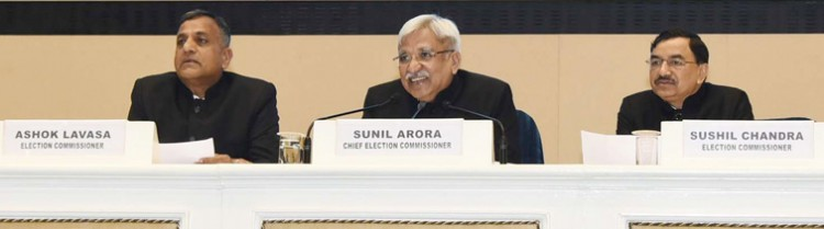chief election commissioner sunil arora along with the ashok lavasa and sushil chandra