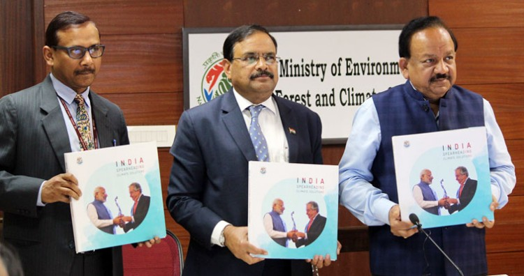 dr. harsh vardhan releasing a publication on climate actions in india titled