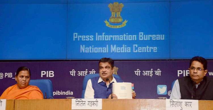 nitin gadkari addressing a press conference on notification of e-flow of ganga
