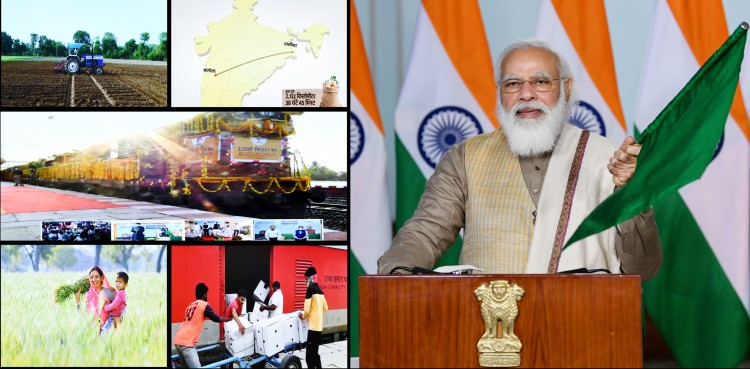 narendra modi flags off the kisan rail from sangola in maharashtra to shalimar in west bengal