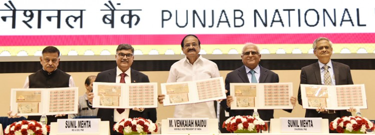venkaiah naidu releasing the commemorative stamp, foundation day celebrations of the pnb