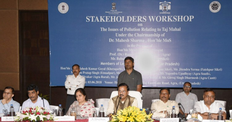dr. mahesh sharma addressing at a stakeholders workshop