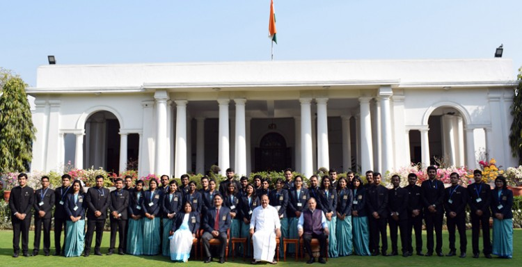 m. venkaiah naidu with the 71st batch of indian revenue service officer trainees