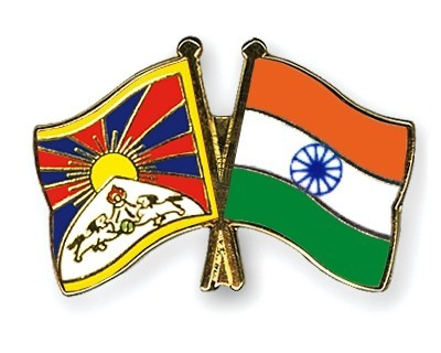 tibet and india flag