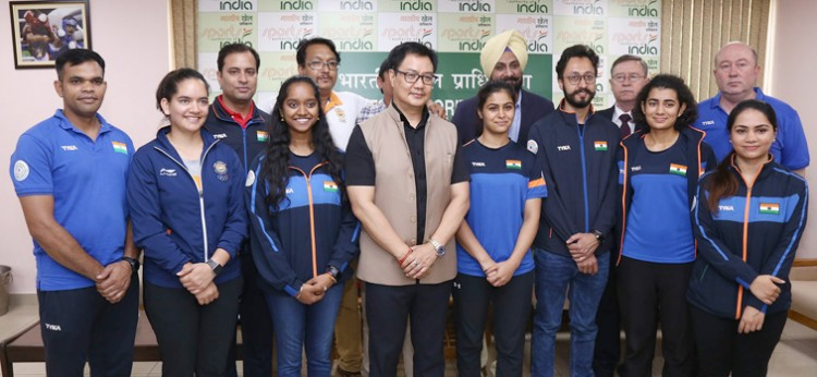 shooter returned from world cup meets sports minister kiren rijiju
