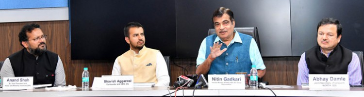 nitin gadkari addressing at the release of the ease of moving index-india report