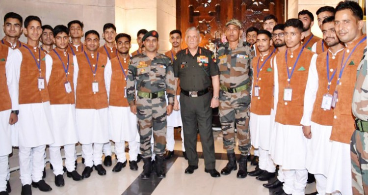 a group of kashmiri students meet from general bipin rawat