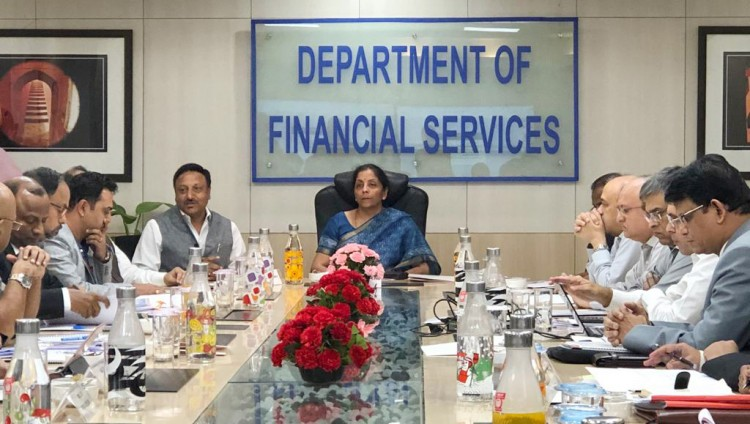 nirmala sitharaman taking a review meeting with the chairman & mds of psbs