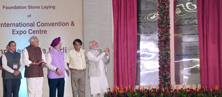 pm narendra modi, foundation stone of the india international convention and exo center,