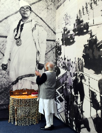 prime minister in front of netaji