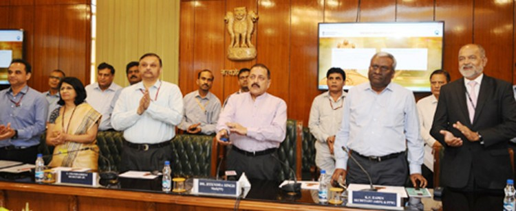 dr. jitendra singh launching an online dashboard
