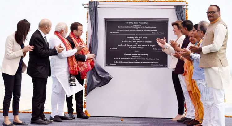 pm narendra modi and president of france solar plant launched