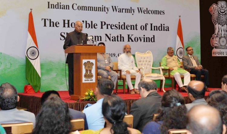 president addresses the indian community