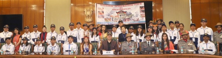 kiren rijiju in a group photograph with the students of states of north east