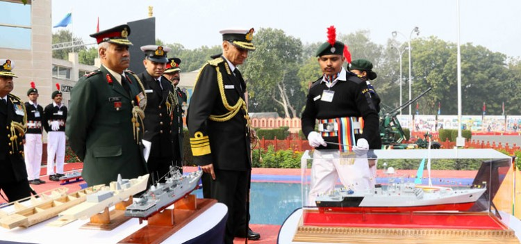 admiral karambir singh inspecting the different models at display, at the ncc republic day camp