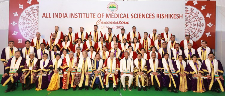 union home minister amit shah in a group of convocation ceremony of the aiims in rishikesh