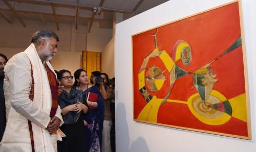 prahalad singh patel visiting after inaugurating the exhibition