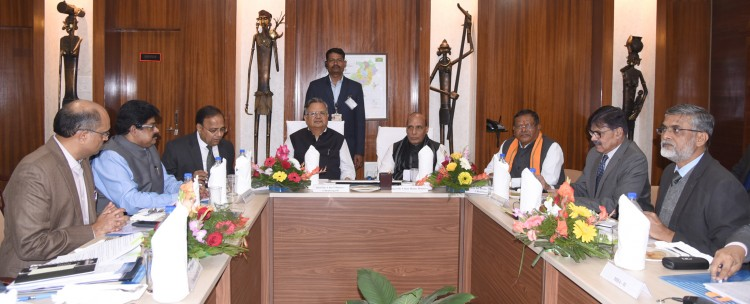 rajnath singh reviewing the meeting with the cm raman singh