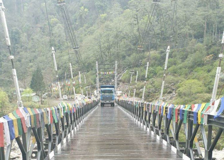 the swing bridge on the teesta river opened today