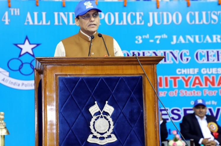 nityanand rai addressing the ceremony of the all india police judo cluster championship