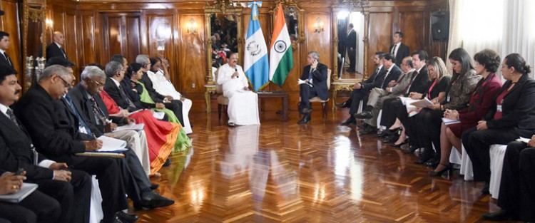 m. venkaiah naidu holding the bilateral discussions with the vice president of guatemala