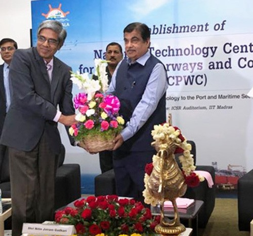 nitin gadkari laid the foundation stone of ntcpwc in iit chennai