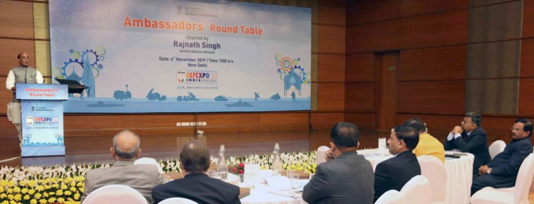 rajnath singh addressing the ambassadors' round table conference on defexpo 2020