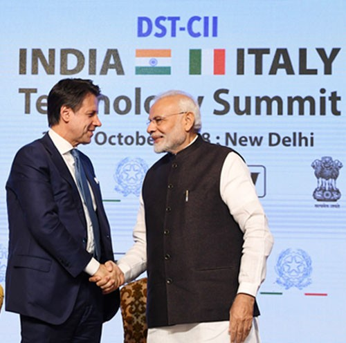 prime minister of italy jewess conte and pm narendra modi