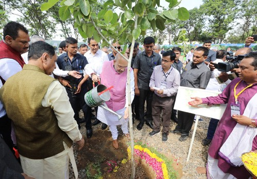 amit shah planting a tree during the ceremony of 'mission million trees'