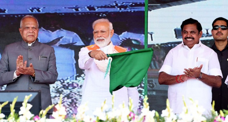 narendra modi inaugurates the various development projects, in kanyakumari