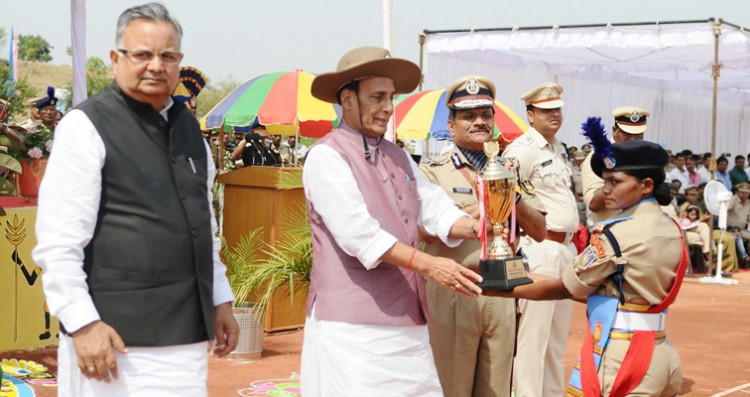 rajnath singh presenting the trophies, passing out parade of the bastariya battalion of crpf