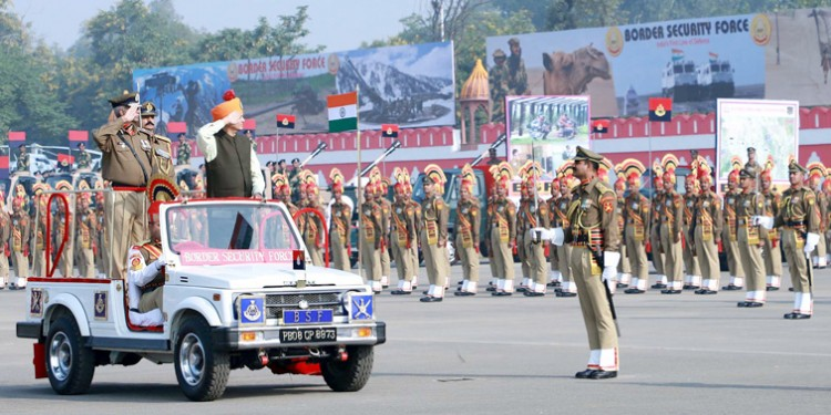 nityanand rai inspecting the parade at the 55th raising day parade of border security force