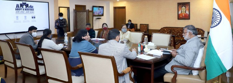 prahlad singh patel chairing a meeting on 'adopt a heritage' project review