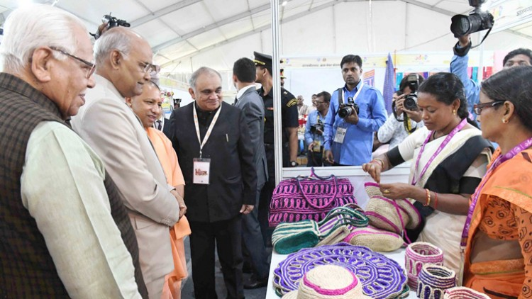 ram nath kovind visiting an exhibition 'one district one product' summit at lucknow