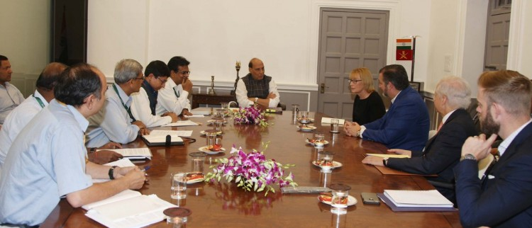 us senator meets defense minister rajnath singh in delhi