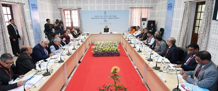 pm narendra modi attends the ganga council meeting, in kanpur